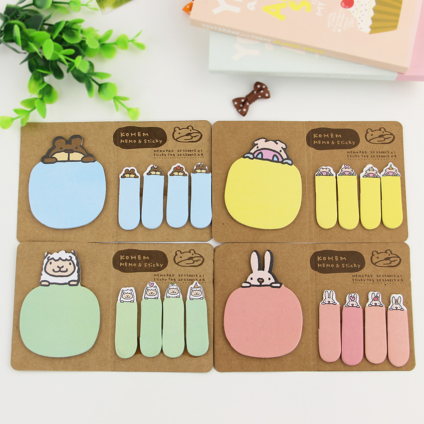 2PCS Kraft Paper Memo Pad Animal N Times Sticky Notes Bookmark School Office Supply Escolar Papelaria 2 pcs pack various lovely cat magnet bookmark paper clip school office supply escolar papelaria gift stationery