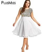 PlusMiss Artı Boyutu 5XL Zarif Gümüş Pullu Sparkly Akşam Parti Elbise Kadınlar Cloak Kollu Seksi Fırfır Midi Elbise Büyük Boy
