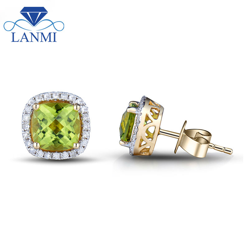 Natural Gemstone Jewelry Cushion 6x6mm Peridot Solid 14kt Yellow Gold Prong Stud Earrings for Women E0053 starry pattern gold plated alloy rhinestone stud earrings for women pink pair