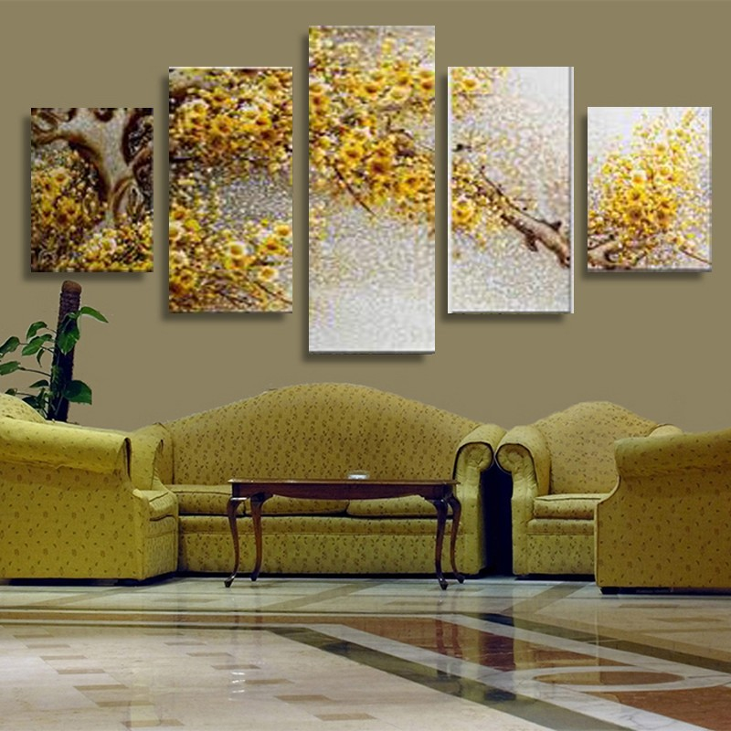 Buy 5 piece canvas art yellow flowers for Picture wall decor