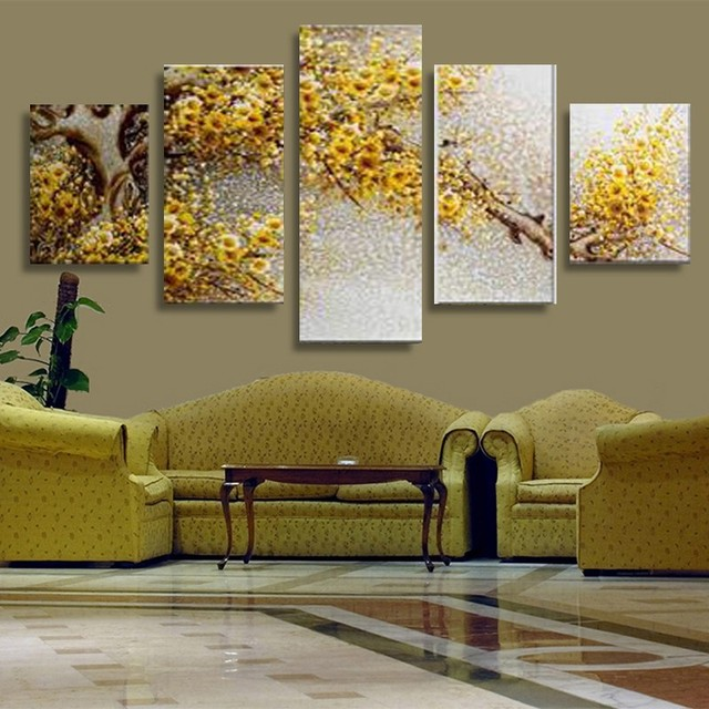 5 piece canvas art yellow flowers wall picture print canvas painting modern wall decor canvas art
