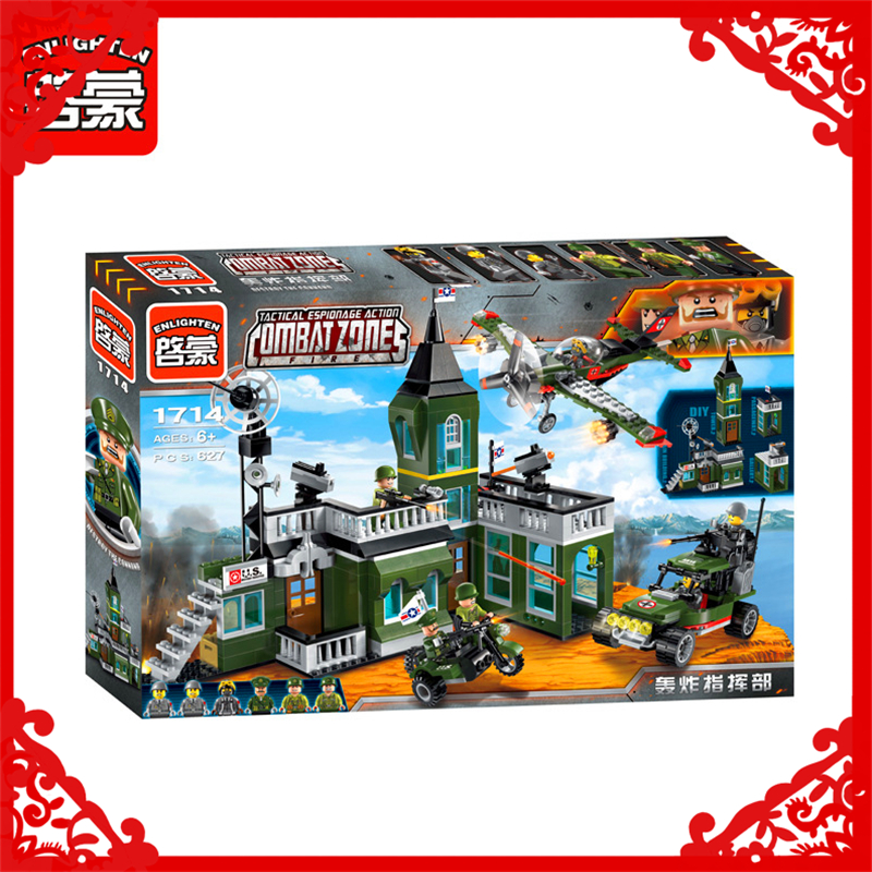 ENLIGHTEN 1714  City Military Command Bomber 527Pcs Bricks Building Blocks   Toy Gifts For Children Compatible Legoe decool 3117 city creator 3 in 1 vacation getaways 613pcs bricks building blocks diy toy gifts for children compatible legoe