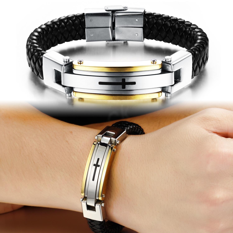 Mode Hommes Bijoux Mâle Croix Armure En Cuir Geniune Acier Inoxydable Bracelets Bracelet PH916