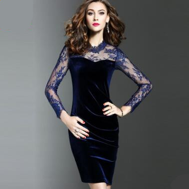 New Autumn Winter Women Slim Large Size Dress Slender Lace Stitching Long Sleeve Golden Velvet Buttock Party Dresses