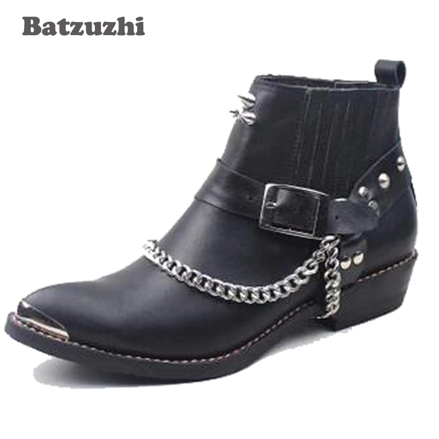 2018 New Handmade Genuine Leather Boots Men Punk Military Boots Men's Genuine Leather Western Cowboy Boot Motorcycle Rock Botas