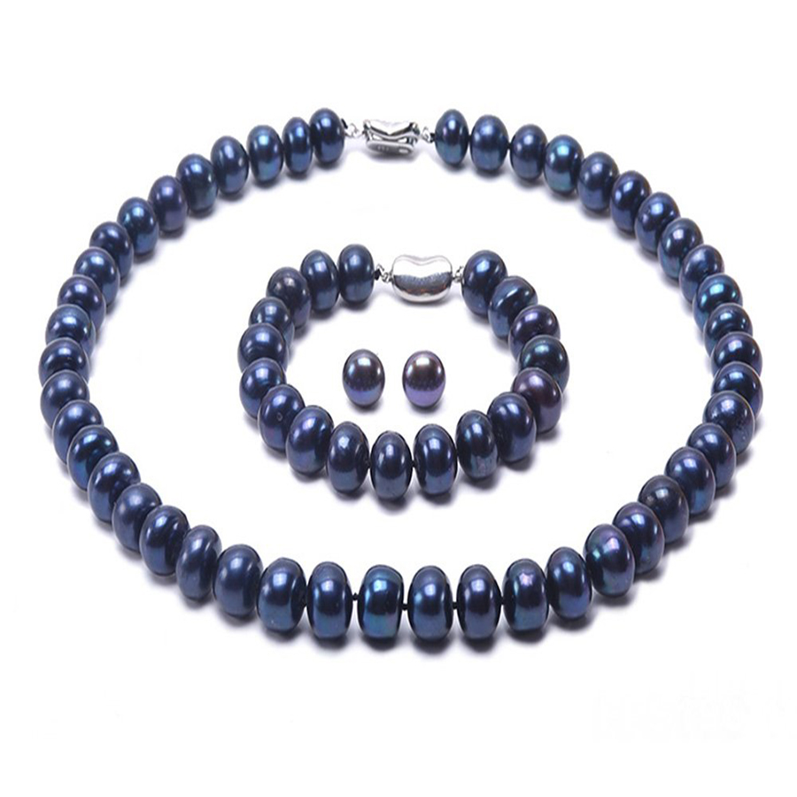 JYX 9-10mm Blue Cultured Freshwater Pearl Necklace 18 AAA