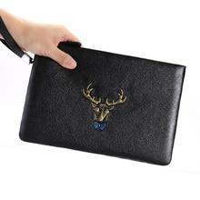 все цены на Men Clutch Bag Genuine Leather Men's Hand Bag Fashion Men Wallet Soft Cow Leather Envelope Bag Large Capacity iPad Bag Man Purse онлайн