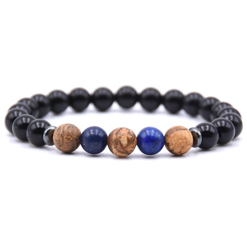 KANGKANG 2pcs set hot Selling 8mm Natural stone bead Bracelets For Men Women Bracelet Jewelry charm 2018 in Strand Bracelets from Jewelry Accessories