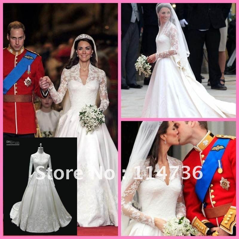 Royal wedding dresses Kate Middleton Catherine Elizabeth Princess V ...