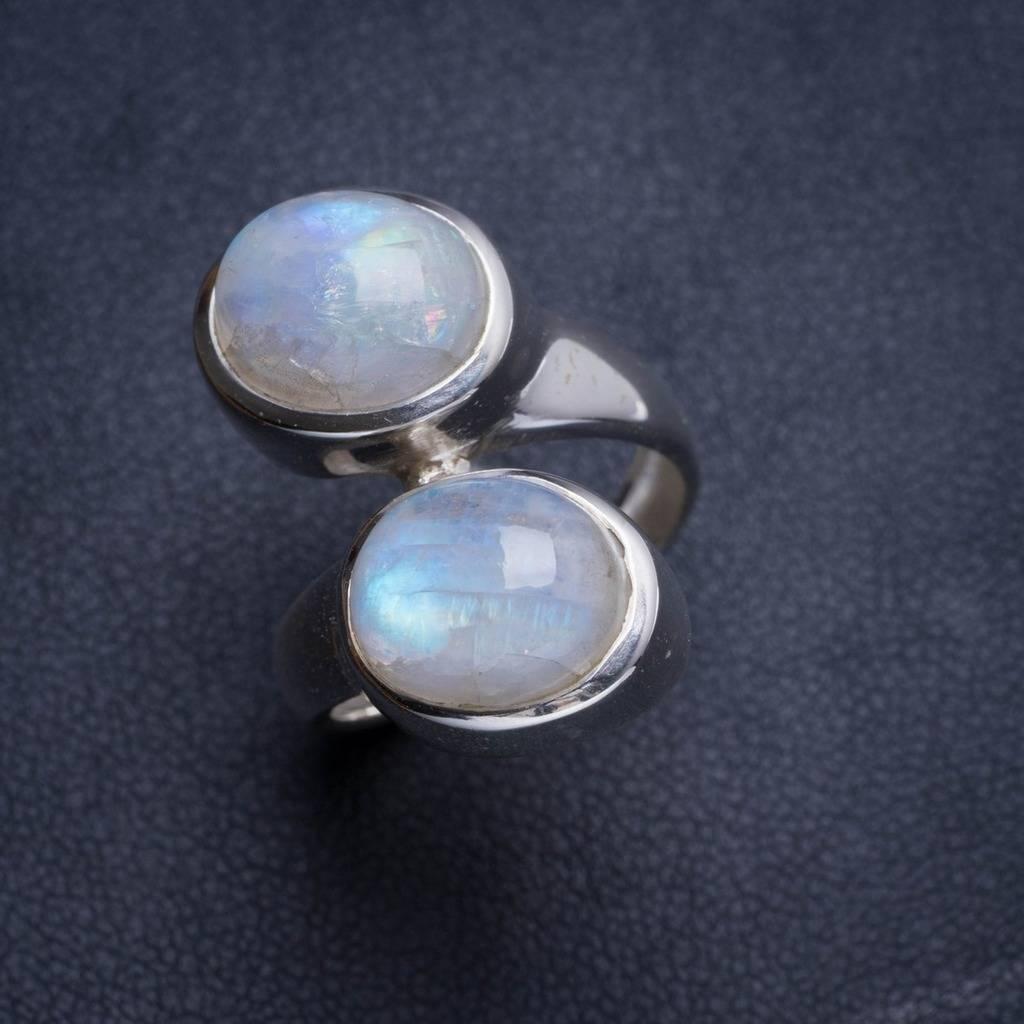 Natural Rainbow Moonstone Handmade Unique 925 Sterling Silver Ring 6 Y4525 natural rainbow moonstone handmade unique 925 sterling silver ring 6 75 y4681