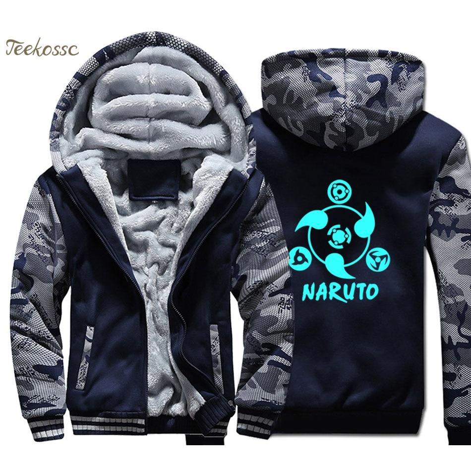 Anime Naruto Night Lights Luminous Hoodie Mens Hooded Sweatshirt Coat 2018 Winter Fleece Thick Harajuku Uzumaki Naruto Jacket