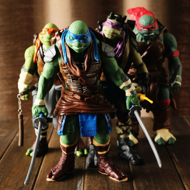 Lot 4 Figurines Tortue Ninja Leonardo Raphael Michelangelo Donatello