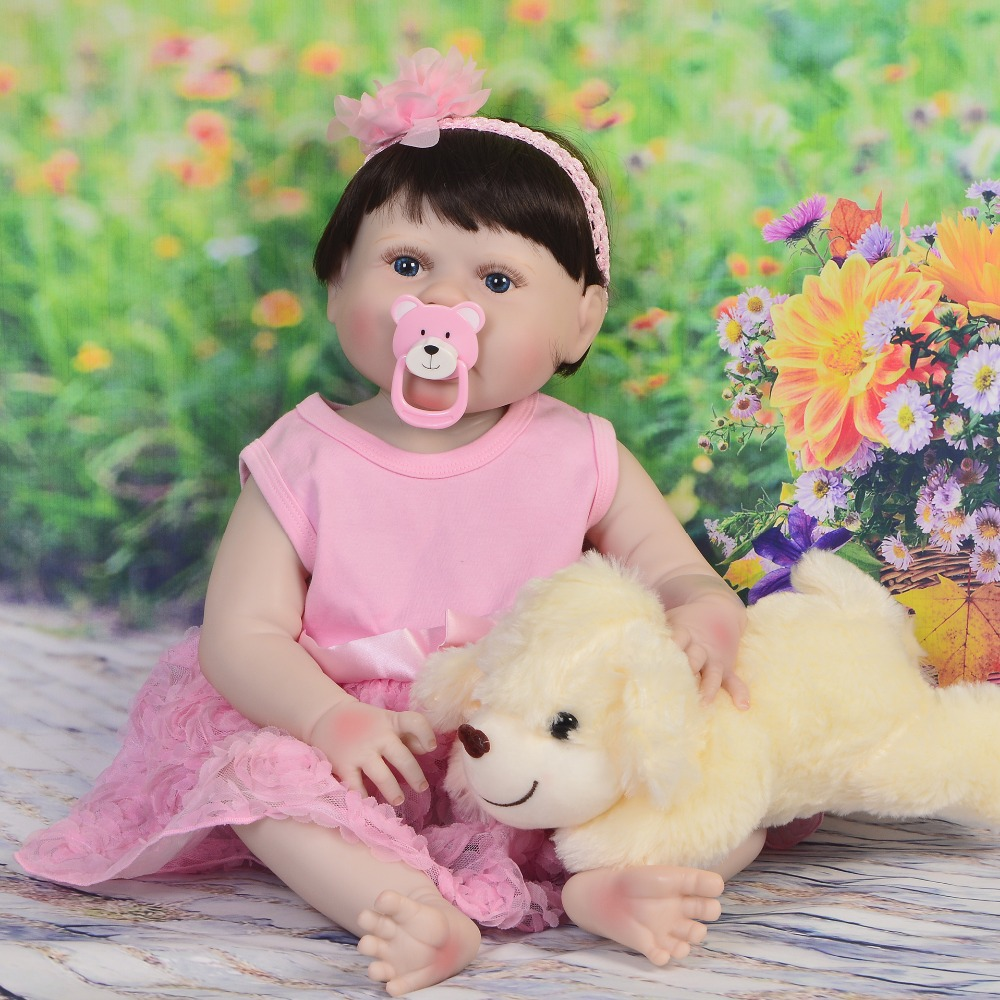 57CM Real Full Silicone Body Girl Reborn Baby  Doll Toys with puppy plush Realistic Newborn Princess bebes reborn menina boneca57CM Real Full Silicone Body Girl Reborn Baby  Doll Toys with puppy plush Realistic Newborn Princess bebes reborn menina boneca