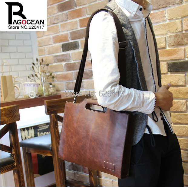 Ny stil galen häst pu läder män affärskort väska casual vintage handväska messenger axelväska liten laptop väska