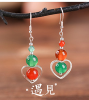 earrings, Korean temperament, long pendant, red and green crash earrings, peach heart retro earrings.