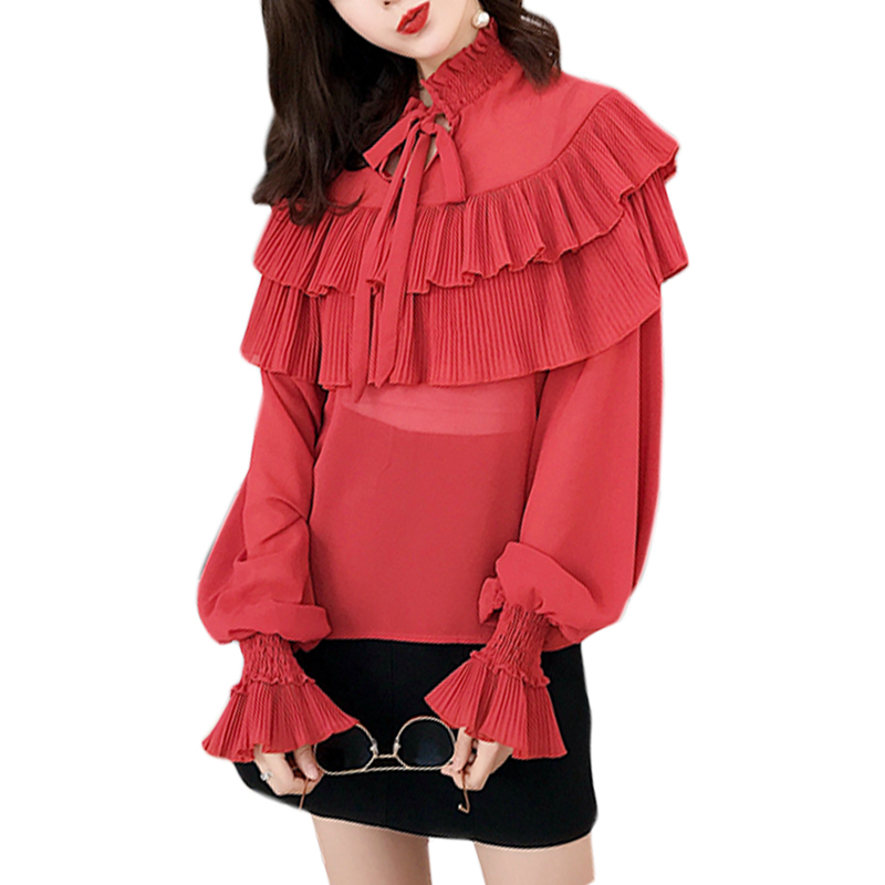 Elegant Ruffles White   Blouse     Shirt   Women Tops 2018 Autumn Lantern Sleeve Lace-up O-neck   Blouse   Casual Chemise Femme Blusas New