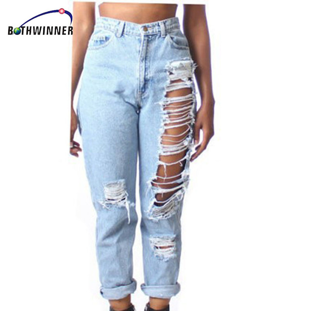 Bothwinner Plus Size Ripped Fading Jeans Women S Denim Skinny