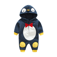 LILIGIRL 2017 New Fashion Newborn Baby Ropmer Penguin Long Sleeve Baby Boy Girl Clothes Hooded Cotton