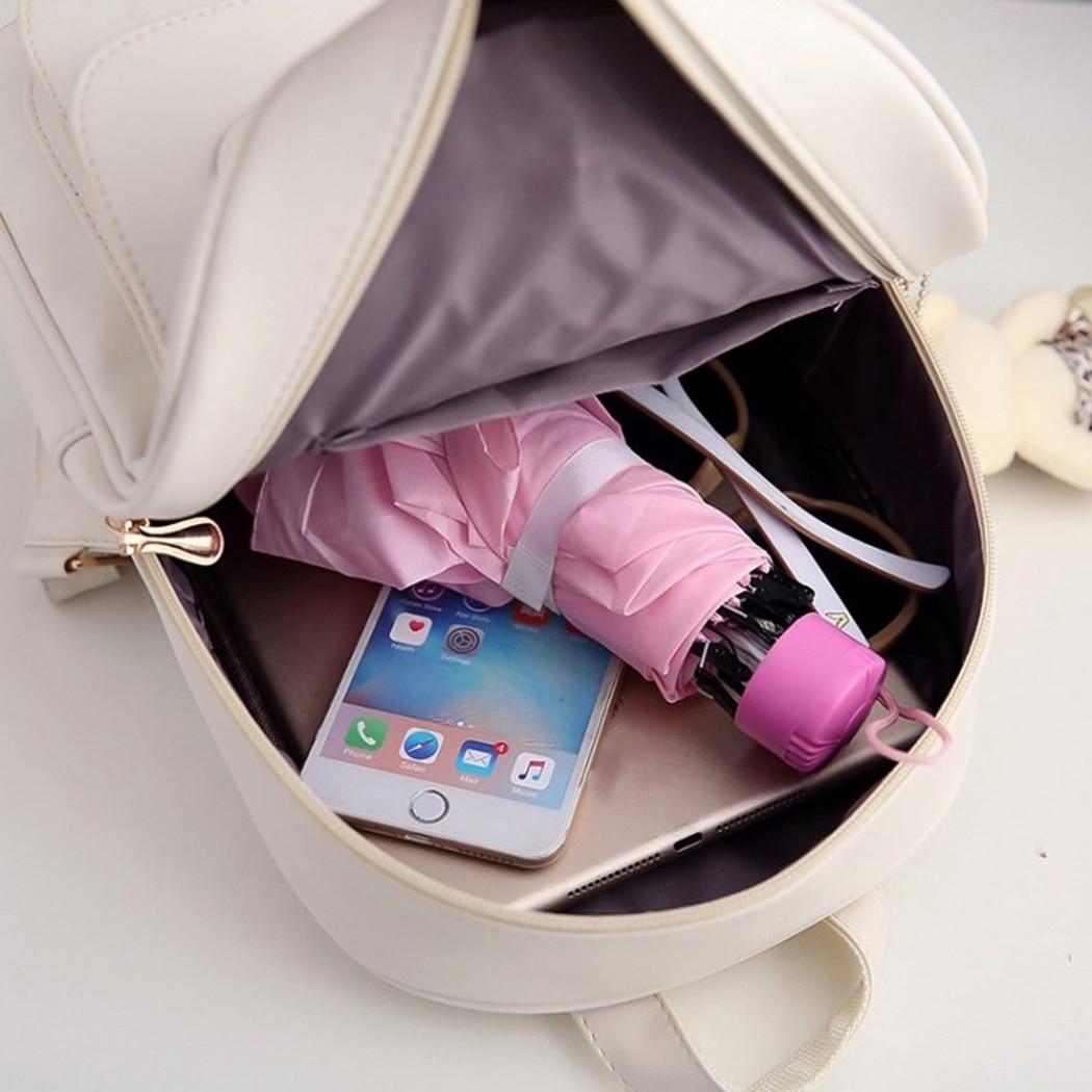 4pcs/Set Cute Leather Composite Bag Backpack Women School Leisure Backpacks Shoulder Bag Purse Travel Rucksack