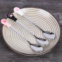 1 Pcs Stainless Steel Cute Cat Claw Coffee Spoons Fruit Fork Dessert Spoon Candy Tea Spoon Cat Drink Tableware Kitchen Supplies