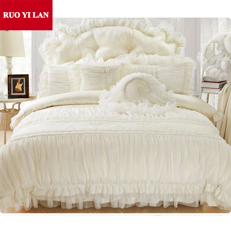 Cotton Jacquard Princess Bedding Set 4pcs Silk Lace