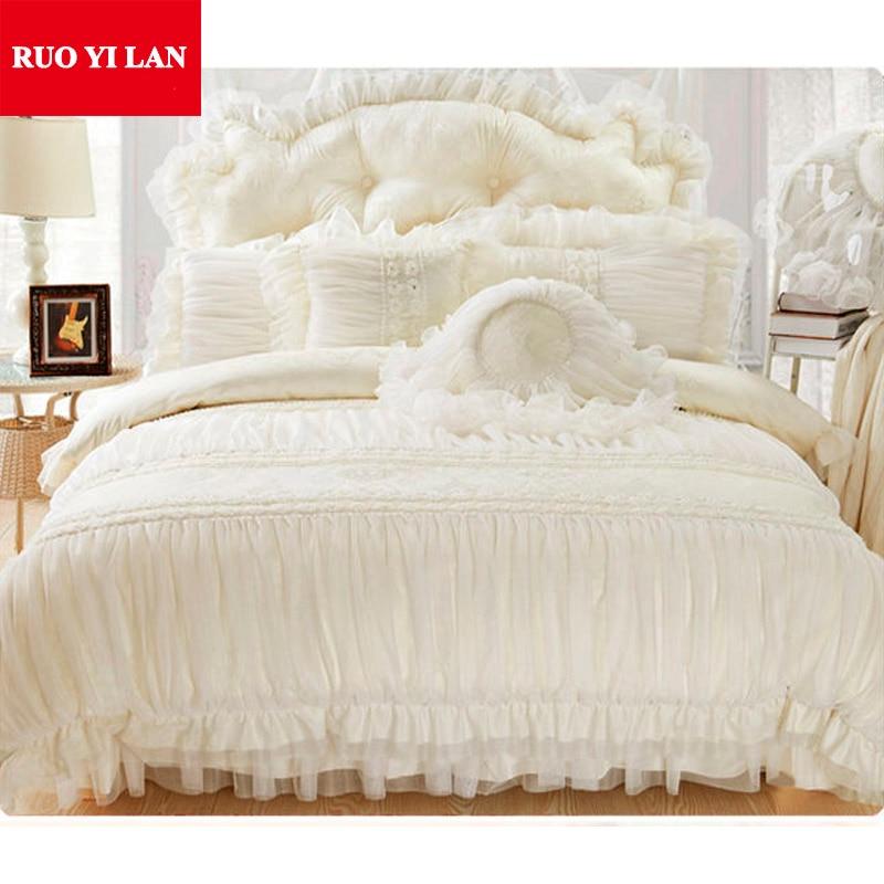 Cotton Jacquard Princess Bedding Set 4pcs Silk Lace Ruffles Duvet Cover Bedspread Bed Skirt
