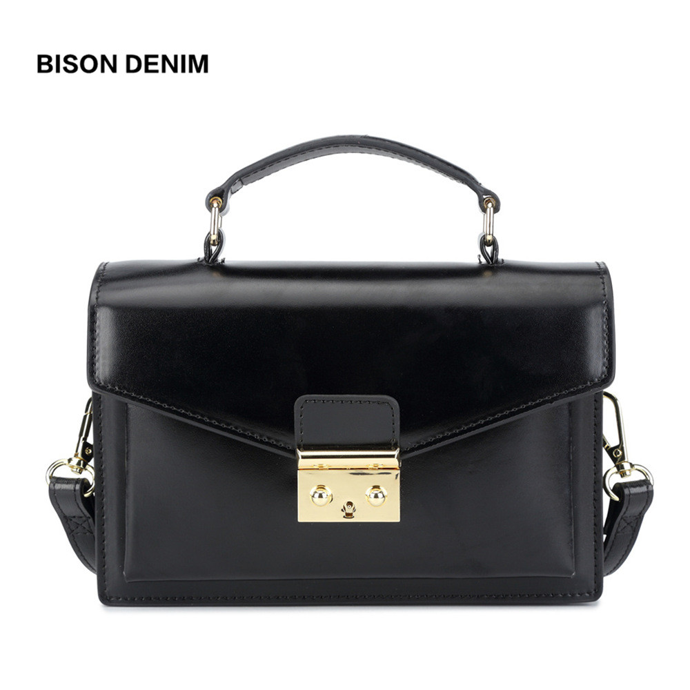 BISON DENIM Leather Women Handbag Luxury Handbags Women Bags Designer Vintage Satchels Female Shoulder Bag bolsa