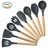 Saingace Kitchen Cooking Utensils Set Black Premium Heat Resistant Baking Tools U71123
