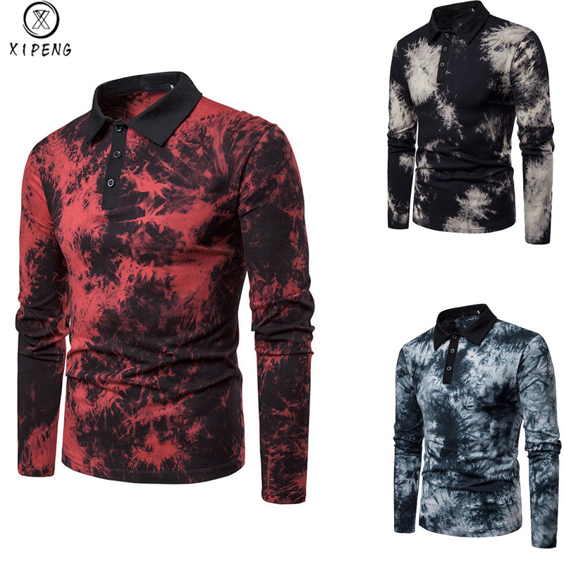 Mens Hippie Tie Dry Print   Polo   Shirt Casual Slim Fit Lapel Male Blue Modal   Polo   Shirts Long Sleeve Plus Size   Polo   Homme Tops XXL