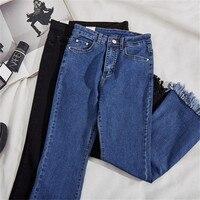 Size 26 32 Jeans Woman 2017 Autumn OL Slim Elegant Black Blue High Waist Trousers Skinny