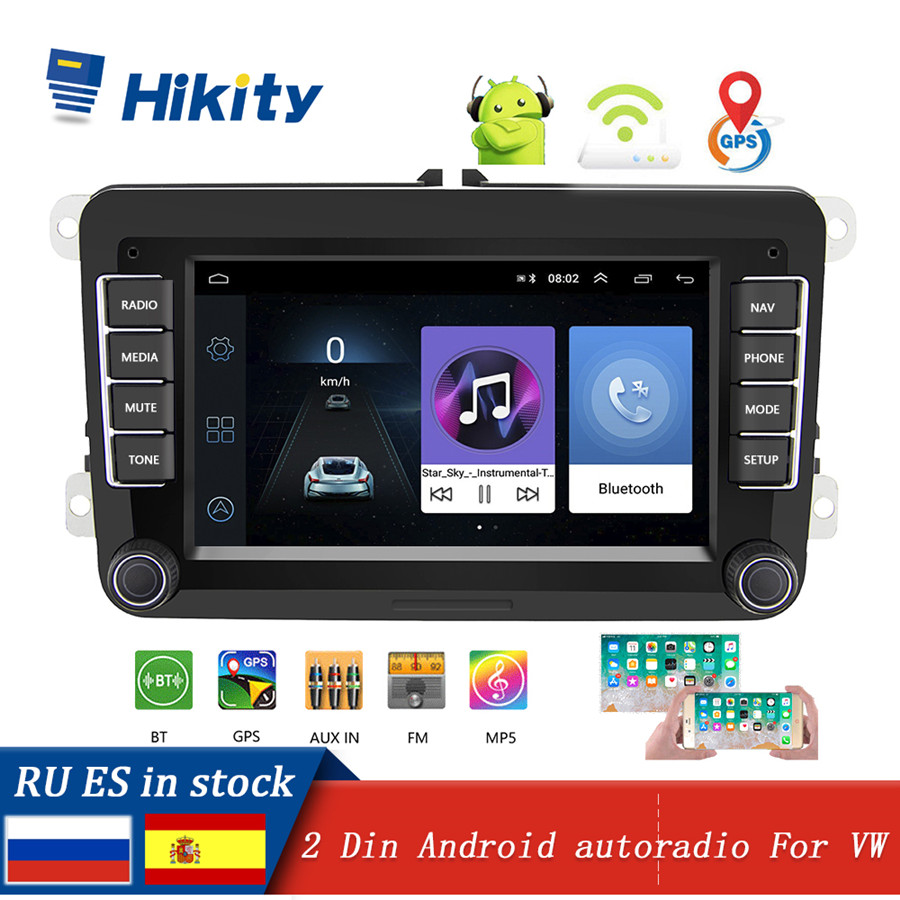Hikity Car Radio Android 2 Din 7 Multimedia Player GPS Navigation WIFI FM Autoradio for Volkswagen