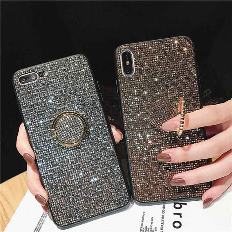 For Huawei P20 Pro Lite Case Mate 20 Pro Honor 10 Lite 8X P30 Pro Cases Luxury Glitter Diamond Gold Girl PC Silicone Ring Holder