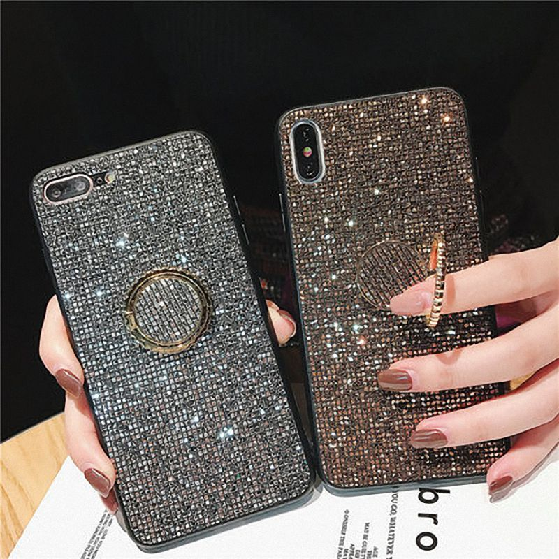 For Huawei P20 Pro Lite Case Mate 20 Pro <font><b>Honor</b></font> 10 Lite <font><b>8X</b></font> P30 Pro Cases Luxury Glitter Diamond Gold Girl PC Silicone Ring Holder image
