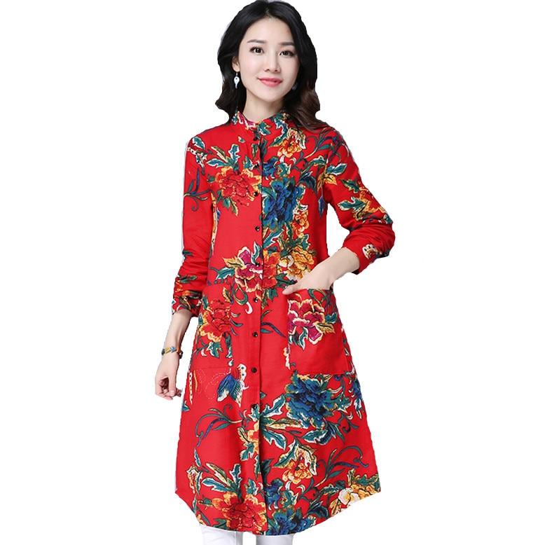 Autumn winter Literature print blouse Turn Down Collar Single Breasted Long Sleeve plus size Cottom Linen Women Shirt 0964