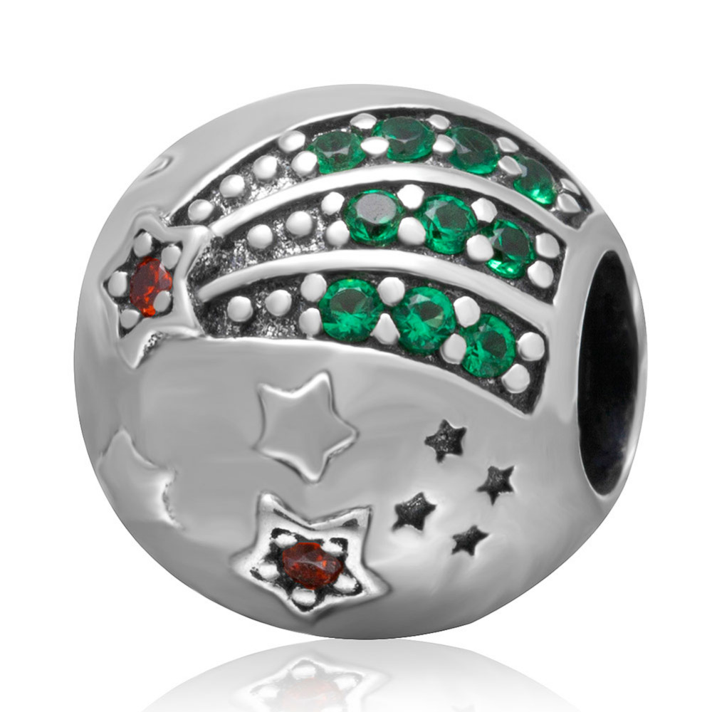 Shining Star Clip Beads Authentic 925 sterling silver charms with Green CZ Stone DIY Fit Pandora Charm Bracelets Jewelry