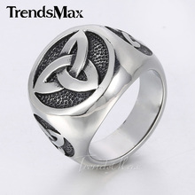 24mm Vintage Engraved Knot Mens Black Silver Tone Signet Ring 316L Stainless Steel Ring HR319