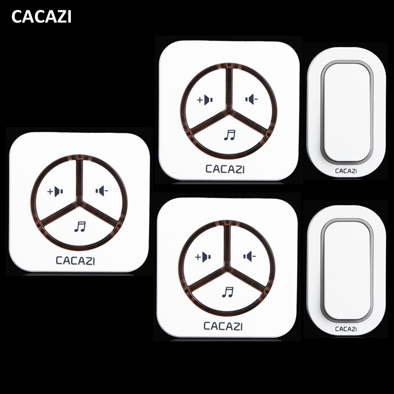 CACAZI New Waterproof Plug-in Wireless Door Bell Push Button with 2 Outdoor Transmitter + 3 Indoor Wireless Doorbell Receiver wireless service call bell system popular in restaurant ce passed 433 92mhz full equipment watch pager 1 watch 7 call button