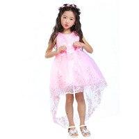 2017 ילדי שמלת ילדה פרח אדום רשת נגרר פרפר בנות ילדי שמלת כלה רקומה שמלת נשף שמלת מסיבת קשת