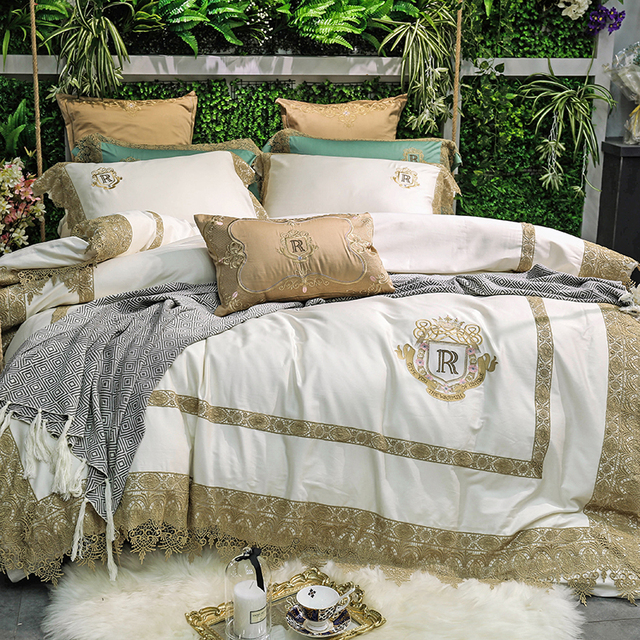 Cream White Golden Lace Luxury Royal 80s Egyptian Cotton Bedding Set King Queen Size Duvet Cover