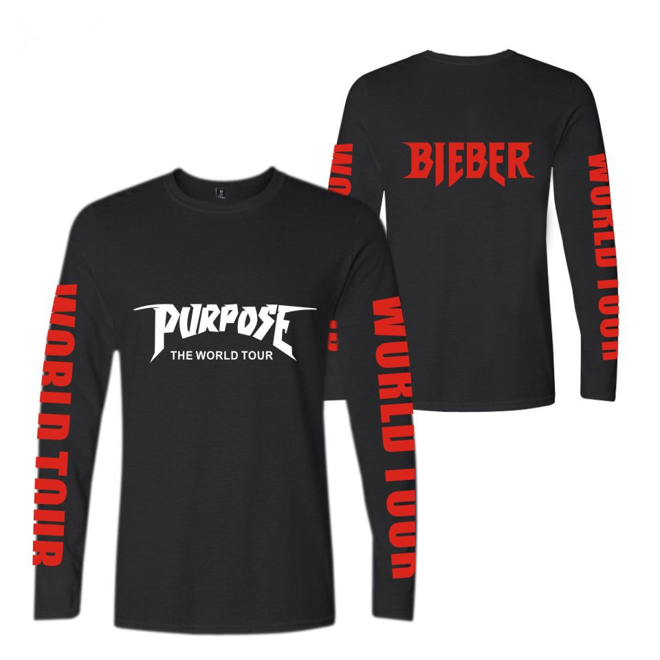 Justin Bieber 2017 NEW Style Purpose Long Sleeve t-shirt MenWomen Spring Cotton Cool Kpop Designs T-Shirts Plus Size 4xl