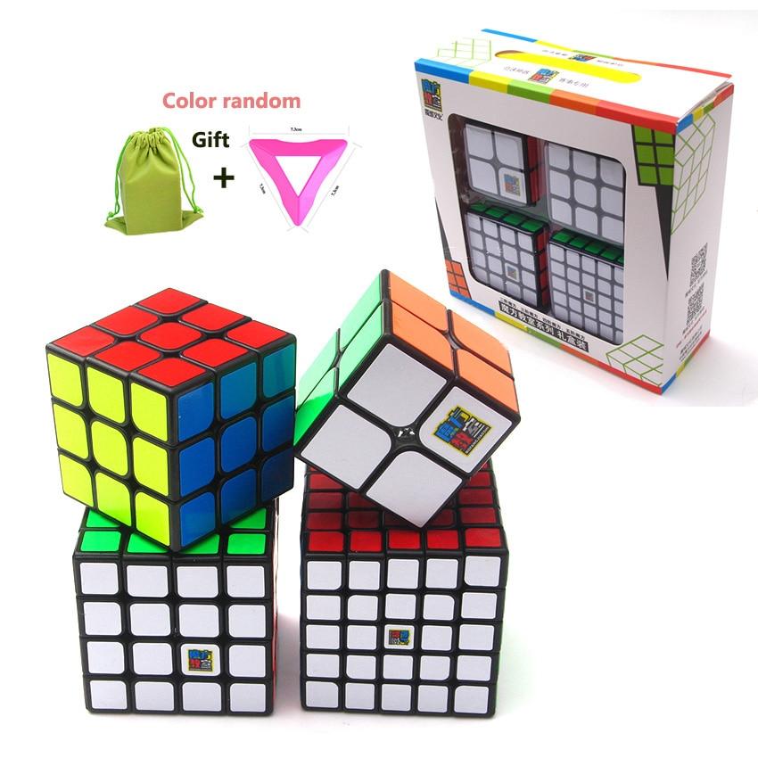 Meilleur Cadeau D'anniversaire 4 pcs/ensemble 2x2x2 3x3x3 4x4x4 5x5x5 Stickerless Magic Cube Puzzle pour Garçons 2*2*2 3*3*3 4*4*4 5*5*5 Moyu Cubes