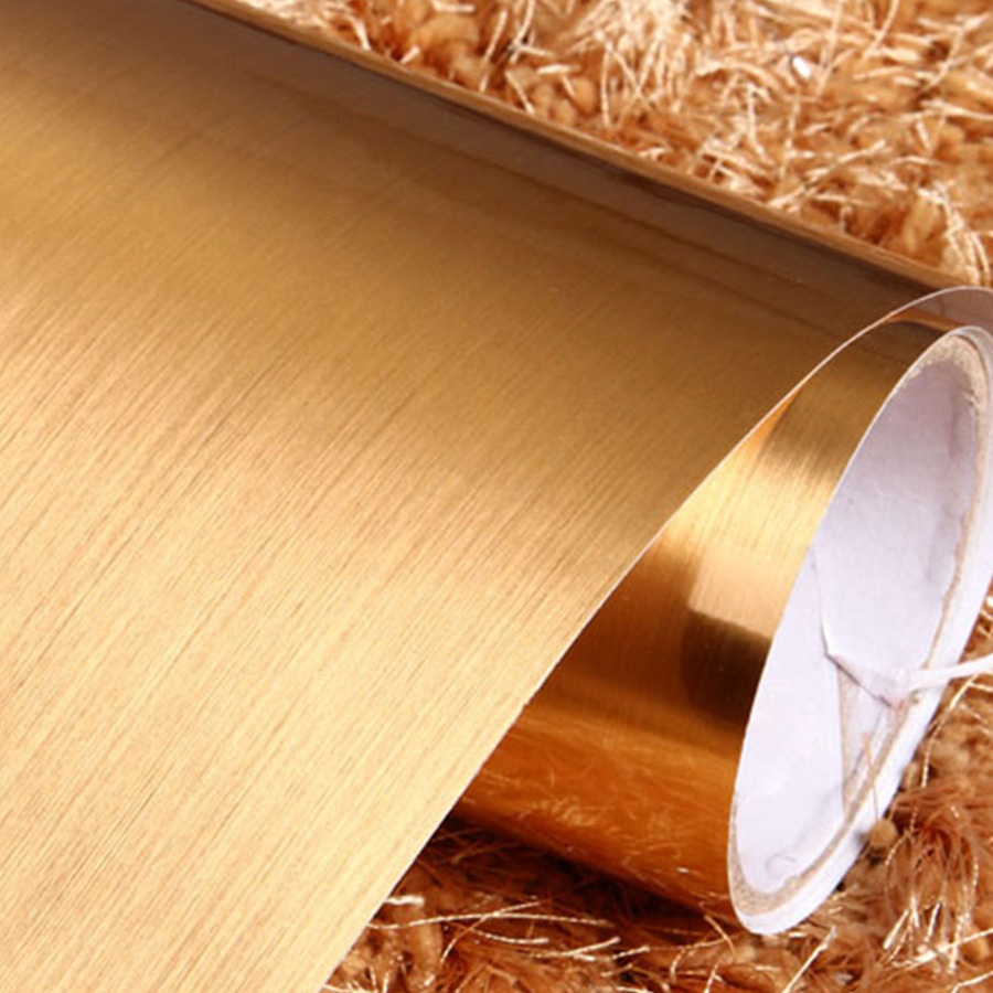 x m nuevo metal cepillado de oro decorativo sticker home decor vinilo muebles papel