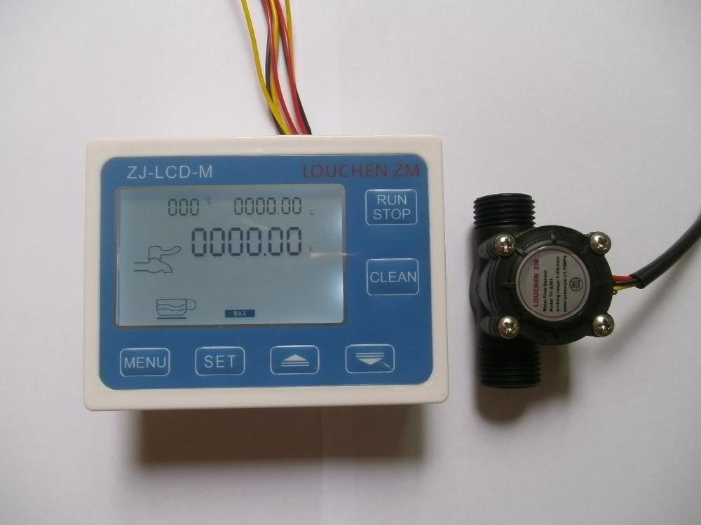 """G1 / 2 """"áramlásmérő vízmérő + digitális LCD kijelző mennyiségi vezérlés 1-30L / perc"""