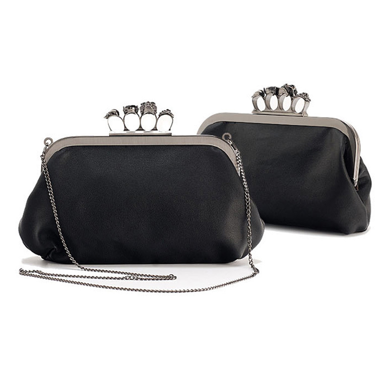 2015 vintage Skull purse,Black Knuckle Rings Handbag Clutch Evening Bag shoulder Chain Perfect free shopping - Fashion Online Store store