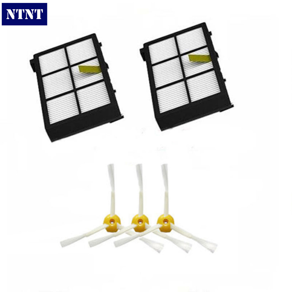 NTNT Free Post New 2 pack Hepa Filters & 3 armed side brush for iRobot Roomba 800 series 880 870 ntnt free post new filters