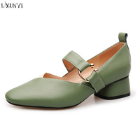 LXUNYI 2018 New Real Cow Leather Women Pumps Green Black Apricot Buckle Shoes Round Toe 4.5 CM Chunky Heels Dress Shoes Female