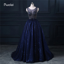 Real Photo A Line Scoop Tulle Sequined Beaded Sweep Train Long Evening Dresses Formal Party Dress