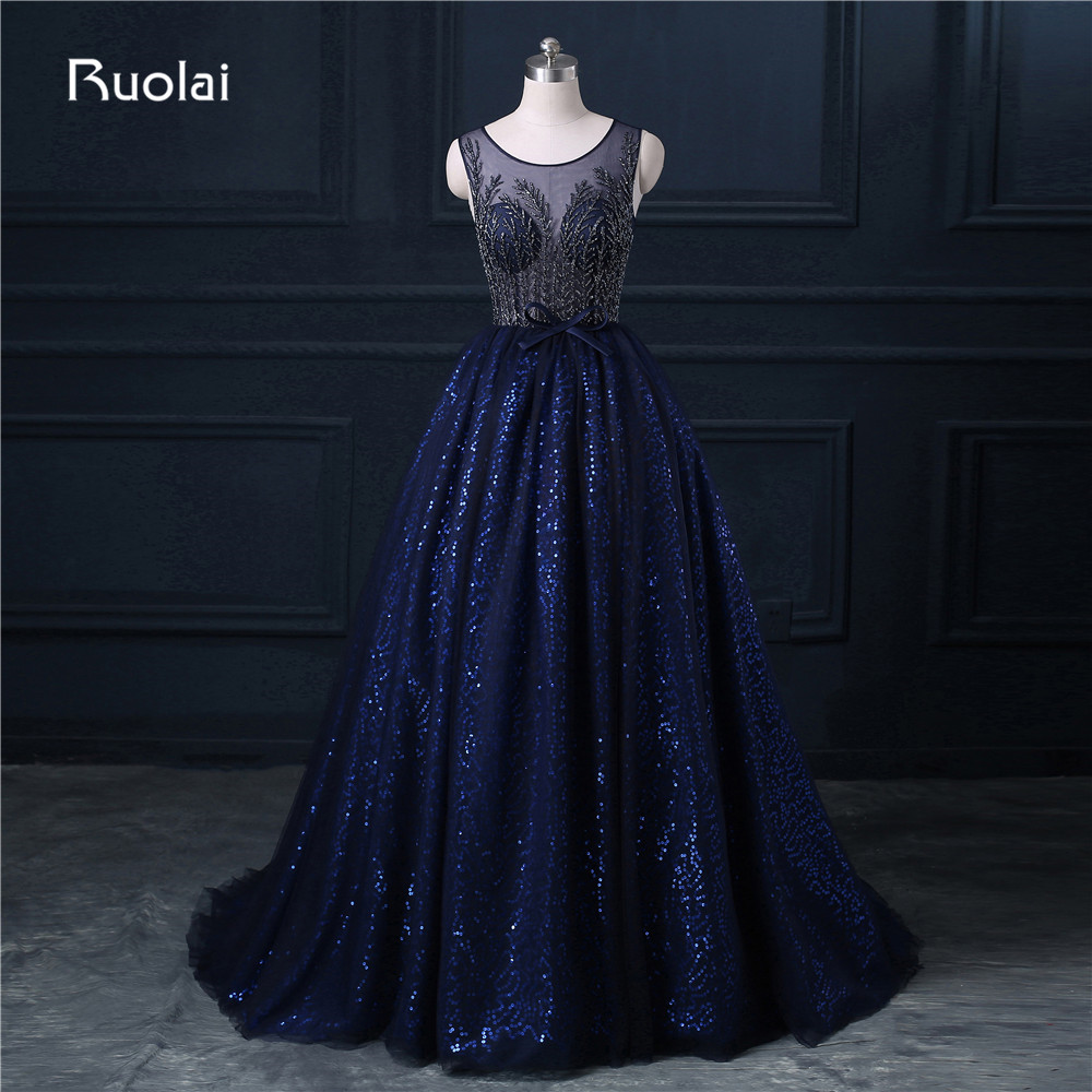 Real Photo A-Line Scoop Tulle Sequined Beaded Sweep Train Long   Evening     Dresses   Formal Party   Dress   Vestido Largo ASAFN11