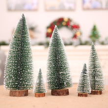 Wooden Snowy Christmas Pine Tree Desk Small Mini Xmas Craft Board Decoration Home Office Show Window Ornament Gift 5pcs/set