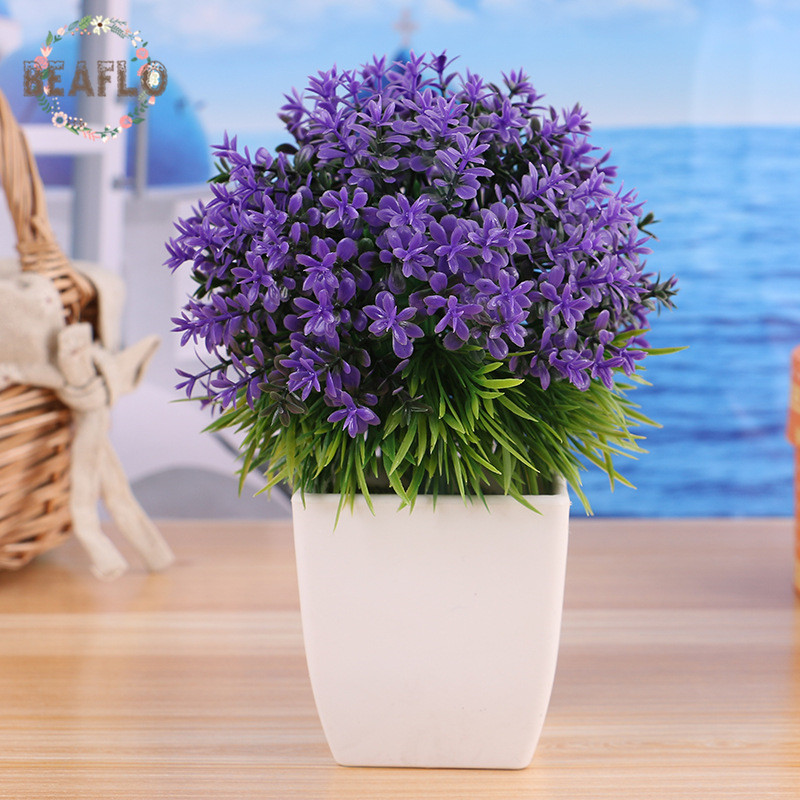 1PC Rural Plastic Grass Potted Plant Set Artificial Flowers Bonsai flowerpot Wedding Home Decorative 5 Colors in Artificial Dried Flowers from Home Garden